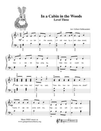Thumbnail of first page of In a Cabin in the Woods piano sheet music PDF by Kids.