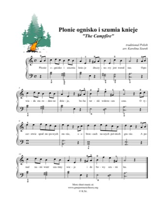 Thumbnail of first page of Plonie ognisko i szumia knieje / The Campfire piano sheet music PDF by Kids.