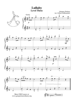 Thumbnail of first page of Brahms' Lullaby piano sheet music PDF by Kids.