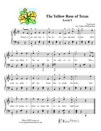 Thumbnail of first page of The Yellow Rose of Texas piano sheet music PDF by Kids.
