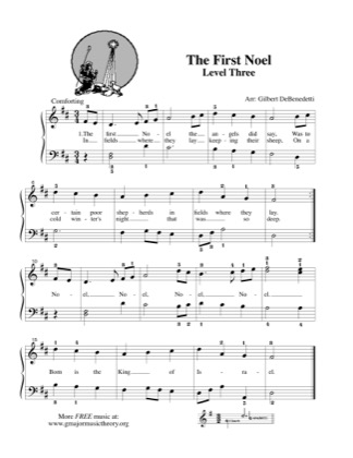 Thumbnail of first page of The First Noel (Lvl 3) piano sheet music PDF by Kids.