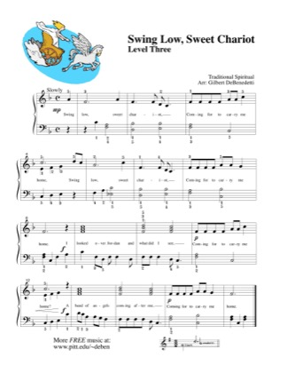Thumbnail of first page of Swing Low, Sweet Chariot piano sheet music PDF by Kids.