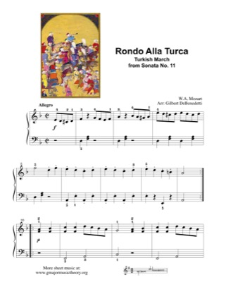 Thumbnail of first page of Rondo alla Turca (Turkish March) piano sheet music PDF by Mozart.
