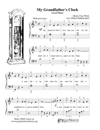Thumbnail of first page of My Grandfather's Clock piano sheet music PDF by Kids.