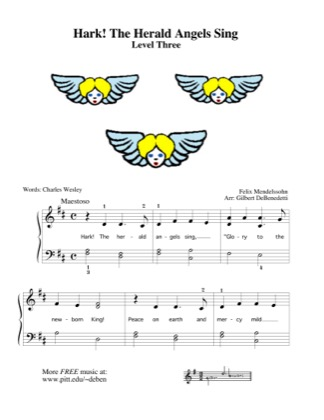 Thumbnail of first page of Hark! The Herald Angels Sing (Kids) piano sheet music PDF by Christmas.