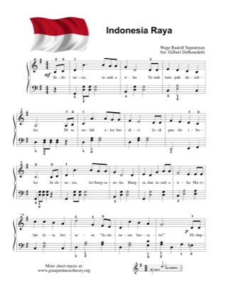 Thumbnail of first page of Indonesia Raya National Anthem of Indonesia piano sheet music PDF by Kids.
