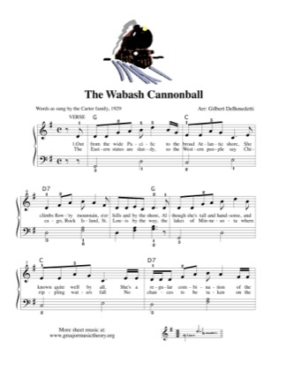 Thumbnail of first page of The Wabash Cannonball piano sheet music PDF by Kids.