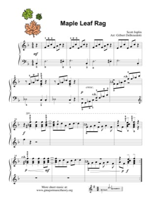 Thumbnail of first page of Maple Leaf Rag piano sheet music PDF by Kids.