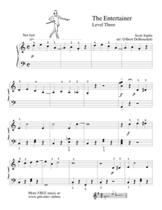 Thumbnail of first page of The Entertainer (Lvl 3) piano sheet music PDF by Scott Joplin.