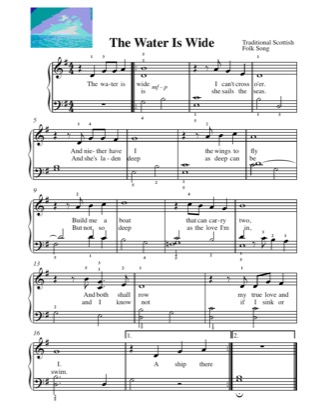Thumbnail of first page of The Water is Wide piano sheet music PDF by Kids.