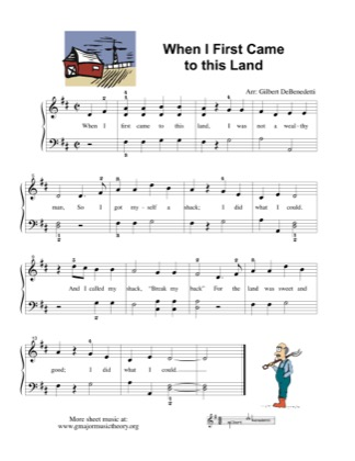 Thumbnail of first page of When I First Came to this Land piano sheet music PDF by Kids.
