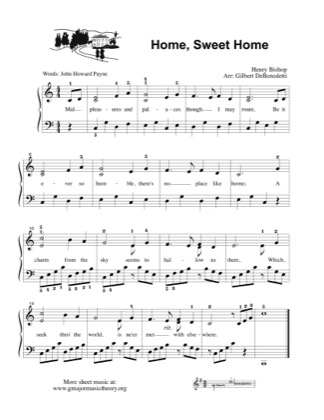 Print and download for free: Home Sweet Home piano sheet music by Kids.