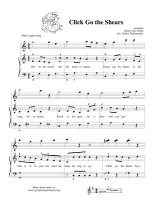 Thumbnail of first page of Click Go the Shears  (duet) piano sheet music PDF by Kids.
