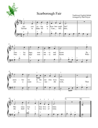 Thumbnail of first page of Scarborough Fair (2) piano sheet music PDF by Kids.