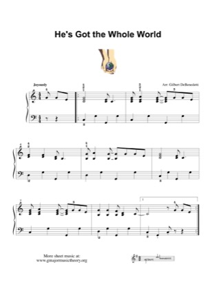 Thumbnail of first page of He's Got the Whole World piano sheet music PDF by Kids.