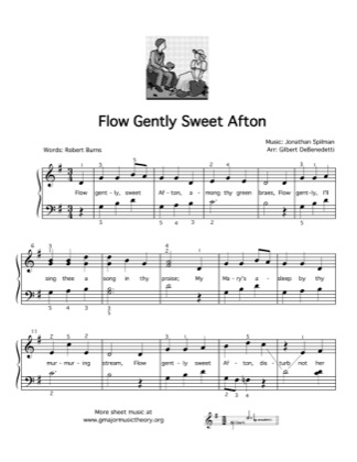 Thumbnail of first page of Flow Gently Sweet Afton piano sheet music PDF by Kids.