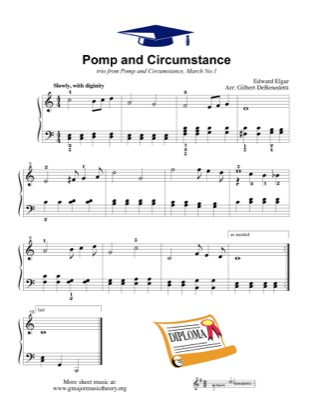 Thumbnail of first page of Pomp and Circumstance piano sheet music PDF by Kids.