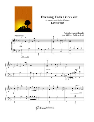 Thumbnail of first page of Evening Falls / Erev Ba piano sheet music PDF by Kids.
