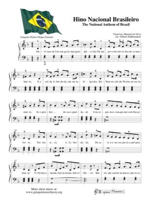 Thumbnail of first page of Hino Nacional Brasileiro - The National Anthem of Brazil piano sheet music PDF by Kids.