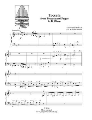 Thumbnail of first page of Toccata from Toccata and Fugue in D Minor piano sheet music PDF by Kids.