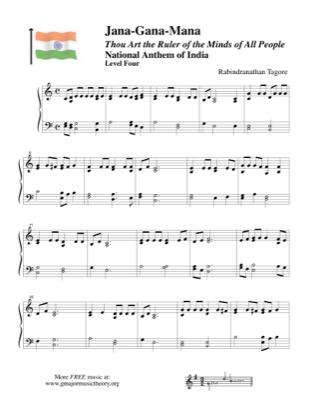 "Thumbnail of first page of ""Jana-Gana-Mana, National Anthem of India piano sheet music PDF by National Anthem."
