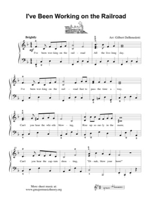 Thumbnail of first page of I've Been Working on the Railroad piano sheet music PDF by Kids.
