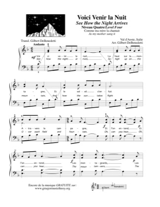 Thumbnail of first page of Voici Venir la Nuit - See How the Night Arrives piano sheet music PDF by Kids.