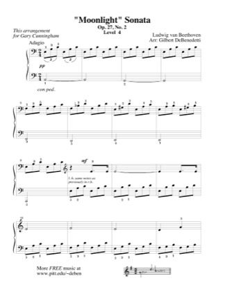 Thumbnail of first page of Moonlight Sonata (long version) piano sheet music PDF by Beethoven.
