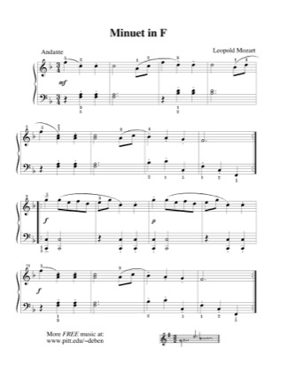 Print and download for free: Minuet in F piano sheet music by Mozart.