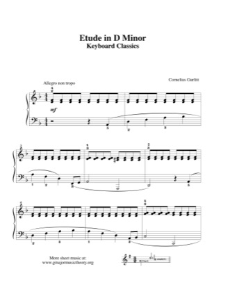 Thumbnail of first page of Etude in D Minor piano sheet music PDF by Gurlitt .