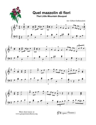 Thumbnail of first page of Quel mazzolin di fiori (That Little Mountain Bouquet) piano sheet music PDF by Gilbert DeBenedetti.