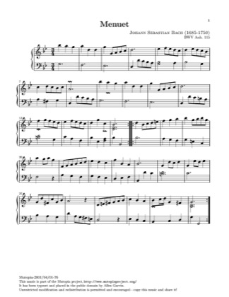 Thumbnail of first page of Minuet in G minor (2) piano sheet music PDF by Bach.