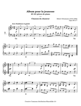 Thumbnail of first page of The Hunt piano sheet music PDF by Schumann.