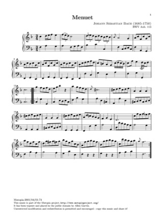 Thumbnail of first page of Minuet in F piano sheet music PDF by Bach.