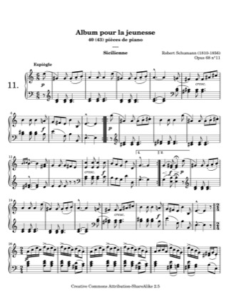 Thumbnail of first page of Sicilienne piano sheet music PDF by Schumann.