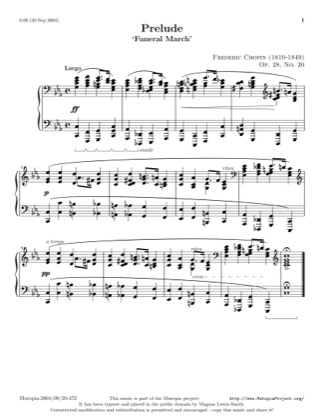 Thumbnail of first page of Prelude, Op. 28, No. 20 in C minor  piano sheet music PDF by Chopin.