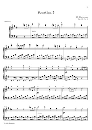 Thumbnail of first page of Sonatina Op. 36, No. 5 piano sheet music PDF by Clementi.