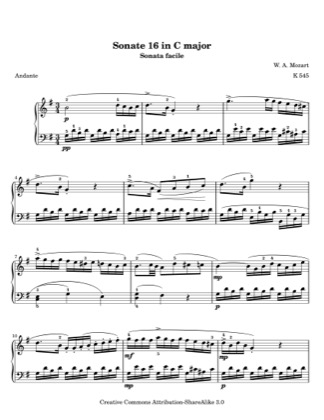 Thumbnail of first page of Sonata K. 545 in C (Movement 2) piano sheet music PDF by Mozart.