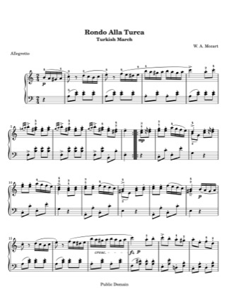 Thumbnail of first page of Rondo alla Turca piano sheet music PDF by Mozart.