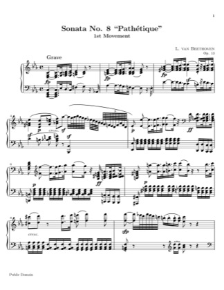 "Thumbnail of first page of Sonata No. 8, Op. 13, ""Pathetique"" in C minor (Movement 1) piano sheet music PDF by Beethoven."