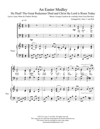 Thumbnail of first page of An Easter Medley piano sheet music PDF by Amy J. van Dyk.