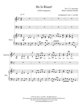 Print and download for free: He is Risen piano sheet music by Amy J. van Dyk.