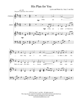 Thumbnail of first page of His Plan for You piano sheet music PDF by Amy J. van Dyk.