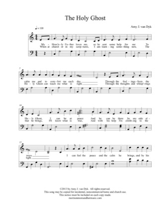 Print and download for free: The Holy Ghost piano sheet music by Amy J. van Dyk.