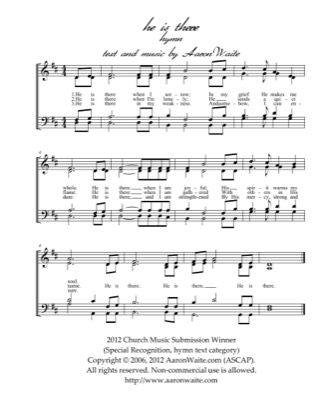 Thumbnail of first page of He Is There piano sheet music PDF by Aaron Waite.