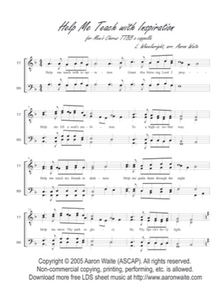 Thumbnail of first page of Help Me Teach With Inspiration piano sheet music PDF by Aaron Waite.