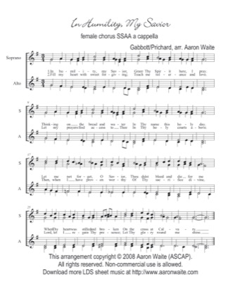 Thumbnail of first page of In Humility, Our Savior piano sheet music PDF by Aaron Waite.