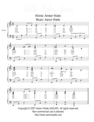 Thumbnail of first page of Little Baby Jesus piano sheet music PDF by Aaron Waite.
