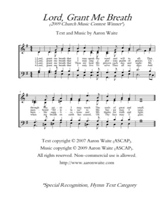 Thumbnail of first page of Lord Grant Me Breath piano sheet music PDF by Aaron Waite.