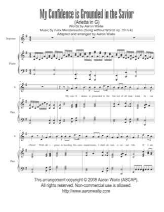 Thumbnail of first page of My Confidence is Grounded in the Savior piano sheet music PDF by Aaron Waite.